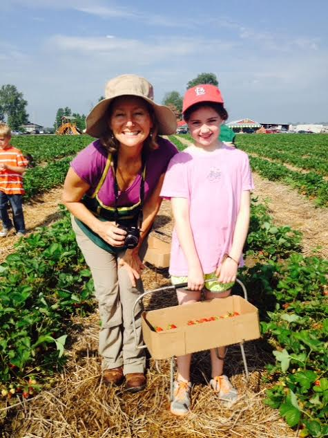 That's me, Jessie, with Virginia as we pick strawberries