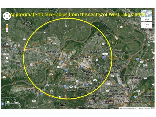 10 mile west lake landfill radius